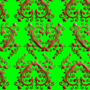 Floral Hearts Seamless Pattern Green