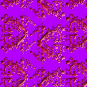 Floral Hearts Seamless Pattern Purple