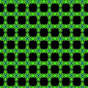 Beads Squares Green on Black