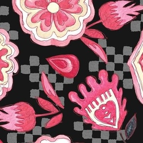 Black and Pink Woodlands Floral