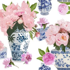 Paeonia in Blue Vases