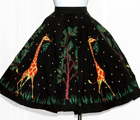 Vintage Giraffe Circle Skirt Kit Black