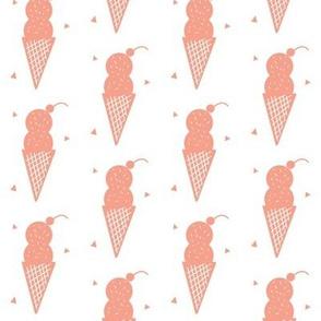 Coral Ice Cream Cone - Confetti Cone