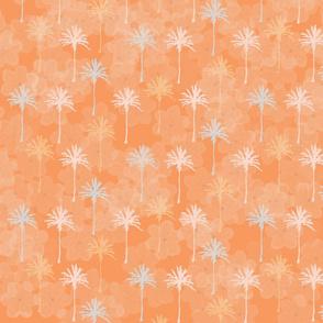 Palm Trees & Leis on Tropical Orange