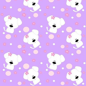 Puppy Dots and Flowers