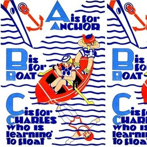 sailing boats ships sailors nautical navy sea ocean water yacht alphabets anchors oars swimming waves vintage retro kitsch children float boys