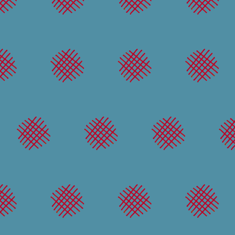 Red Crosshatch (Turquoise)