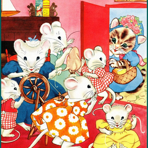 white mice mouse rats family mothers children boats books home siblings daughters sons brothers sisters sewing spindle yarn spinning wheels cats visit threads kittens