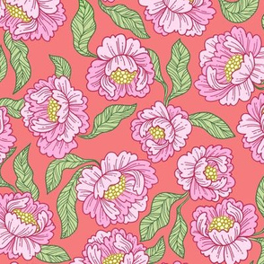 spring floral in coral