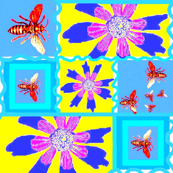 Crazy Quilt of Flowers and Bees (larger)
