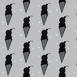 Grey Ice Cream Cone