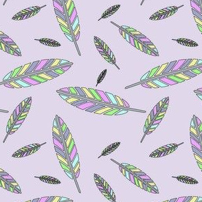 Pastel Feathers on Lilac