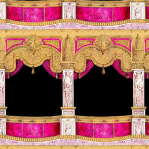 Box Seats ~ Gilt Gold and Hot Pink ~ Large