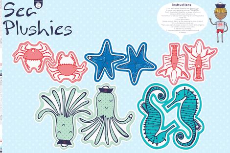 Sea Plushies / ready-to-sew kit
