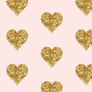 Whisper Pink Large Gold Hearts