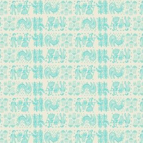 Turquoise on White Butterprint Design