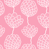 Graphic flowers on pink