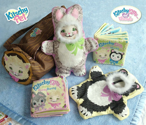 KitschyPet Kitschy Kitty Meets Fuzzy Bunny Plush Toys and Book