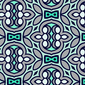 Teal & Grey - Quaint Floral