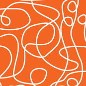 Doodle Line Art | White Lines on Persimmon Orange Background