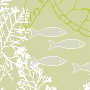 Sea Turtles and White Kelp with Fish in Tranquil Green & Gray Hues