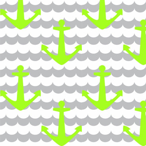 Nautical - Anchor Lime Green
