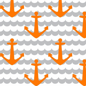 Nautical - Anchor Orange