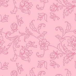 Floral with bees - pink