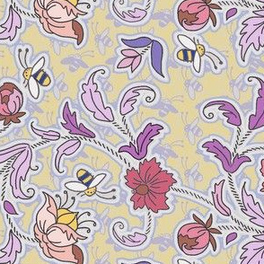 Floral tapestry with bees