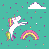 Unicorn and rainbows