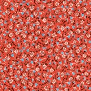 Coral Folksy Floral
