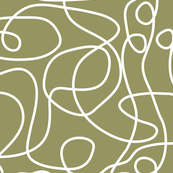 Doodle Line Art | White Lines on Khaki/Olive Green Background