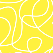 Doodle Line Art | White Lines on Bright Yellow Background