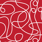 Doodle Line Art | White Lines on Cherry Red Background