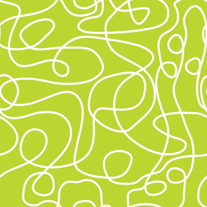 Doodle Line Art | White Lines on Lime Green Background