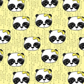 Panda with Bow - Lemon Yellow (Small Version) by Andrea lauren