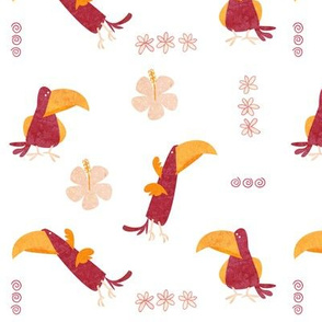 Pink island birds
