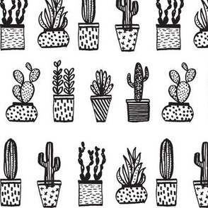 Potted Plants - Mini Succulents and Cactus - Black and White by Andrea Lauren