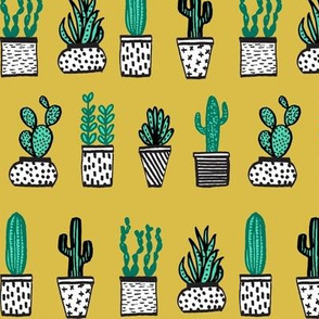 Potted Plants - Mini Succulents and Cactus - Mustard by Andrea Lauren