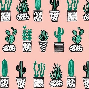 Potted Plants - Mini Succulents and Cactus - Pale Pink by Andrea Lauren