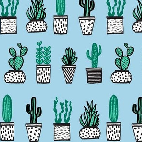 Potted Plants - Mini Succulents and Cactus - Sky Blue by Andrea Lauren