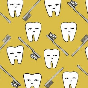 Happy Teeth - Mustard and Light Grey by Andrea Lauren