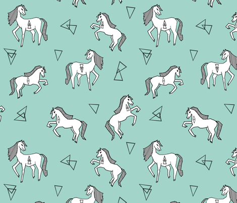 Horses geometric horse horses mint kids girls baby for Horse fabric for kids
