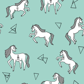 Geo Horses - Pale Turquoise by Andrea Lauren