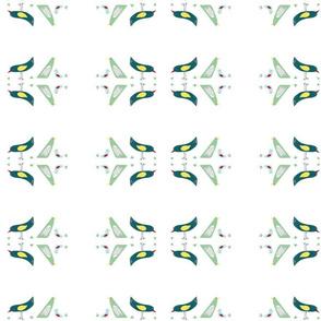 flock of birds on bright white
