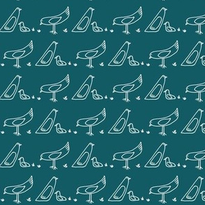 bird repeat in teal blue