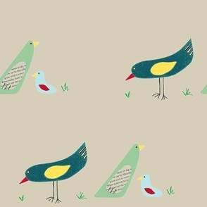 bird family on tan background