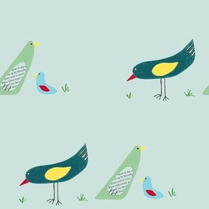 bird family on pale blue background