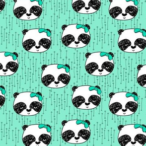 Panda with Bow - Pistachio (Smaller Version) by Andrea Lauren