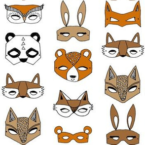 Animal Masks - Brown, Rust, black and white by Andrea Lauren